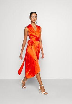 TANGERINE SLEEVELESS WRAP DRESS - Vestido de cóctel - tangerine