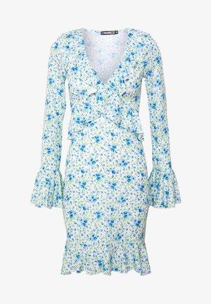 FLORAL WRAP FRILL DRESS - Jersey dress - white