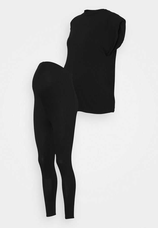 SHIRT AND LEGGING SET - Basic T-shirt - black