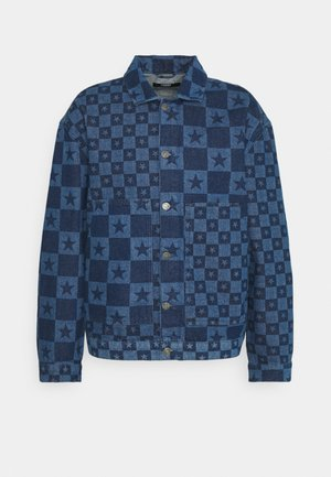DISCHARGE STAR PRINT JACKET - Denim jacket - blue