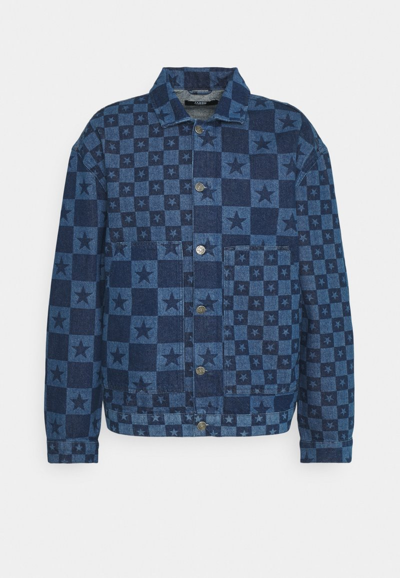 Jaded London - DISCHARGE STAR PRINT JACKET - Denim jacket - blue