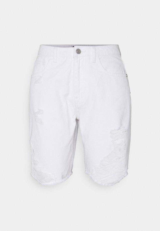 RIPPED SHORTS - Shorts vaqueros - white
