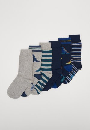 KIDS SOCKS DINO STRIPES 6 PACK - Ponožky - navy/silber melange