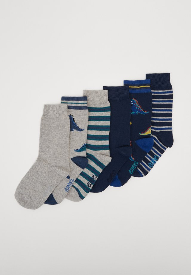 KIDS SOCKS DINO STRIPES 6 PACK - Calze - navy/silber melange