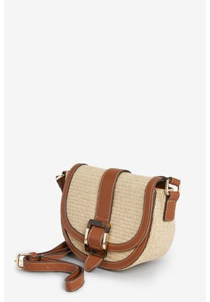 BLACK RAFFIA SADDLE ACROSS-BODY BAG WITH BUCKLE DETAIL - Across body bag - beige