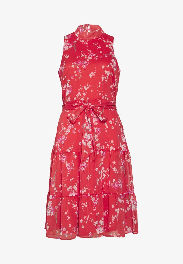 ORIENTAL RUFFLE HALTER NECK DRESS - Day dress - coral
