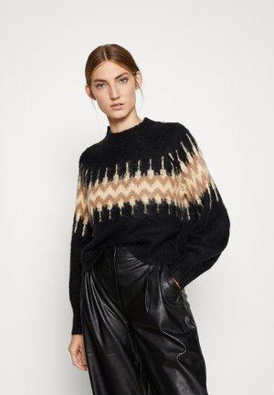 LOU - Stickad tröja - black multi