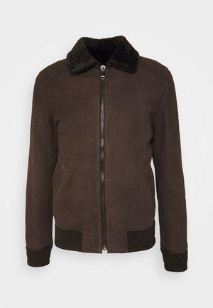 MERINO SEMICURLY BURGALESE  - Leather jacket - dark brown