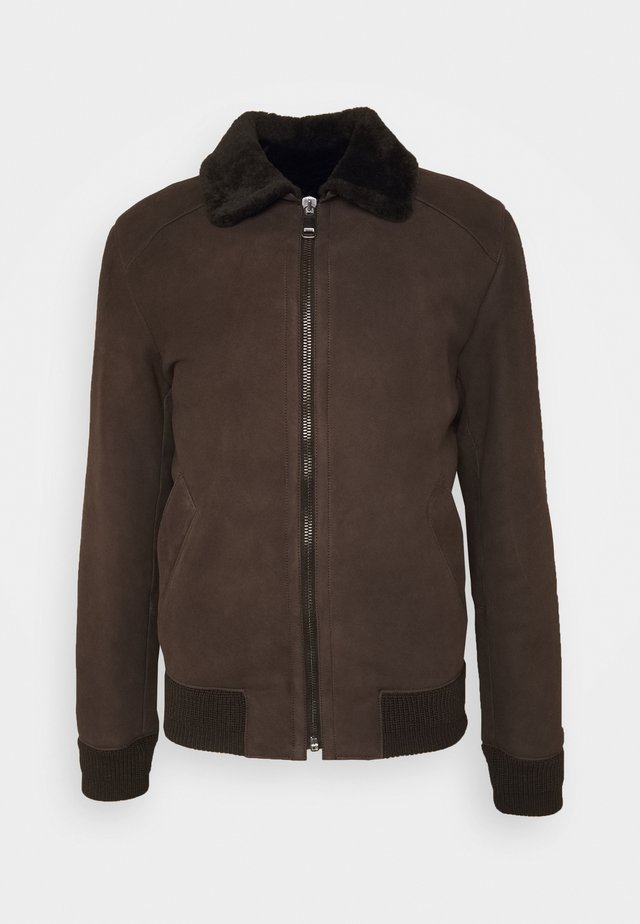 MERINO SEMICURLY BURGALESE  - Lederjacke - dark brown