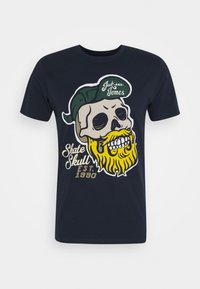 JORSKULLING TEE CREW NECK - Print T-shirt - navy