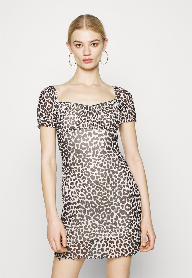 NEW MONO LEOPARD MINI DRESS - Sukienka etui - mono
