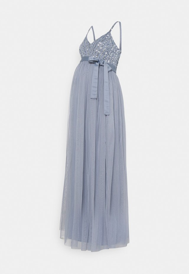 STRIPE EMBELLISHED CAMI MAXI DRESS - Iltapuku - dusty blue