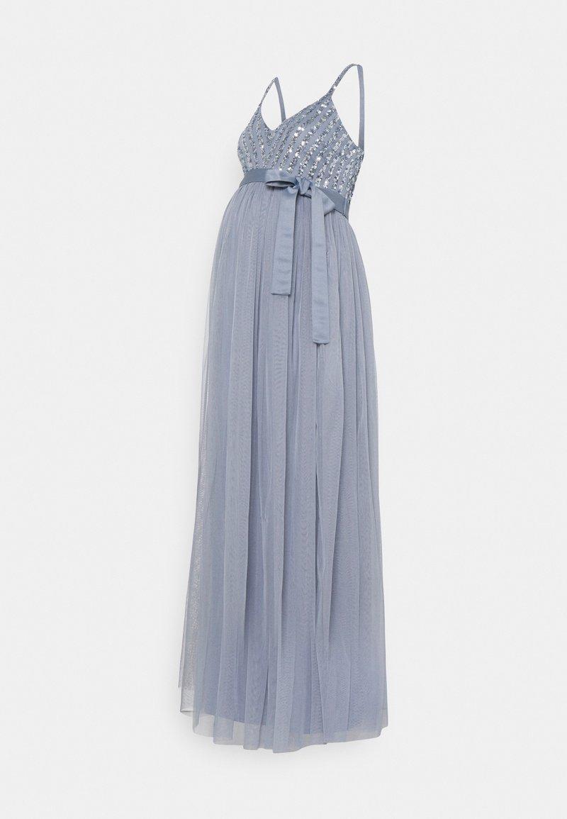 Maya Deluxe Maternity - STRIPE EMBELLISHED CAMI MAXI DRESS - Iltapuku - dusty blue