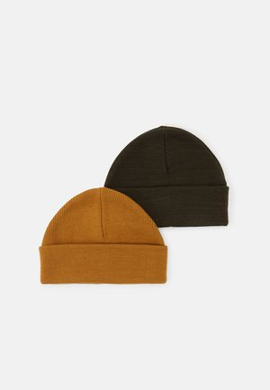 2 PACK SHORT BEANIE - Berretto - olive/camel