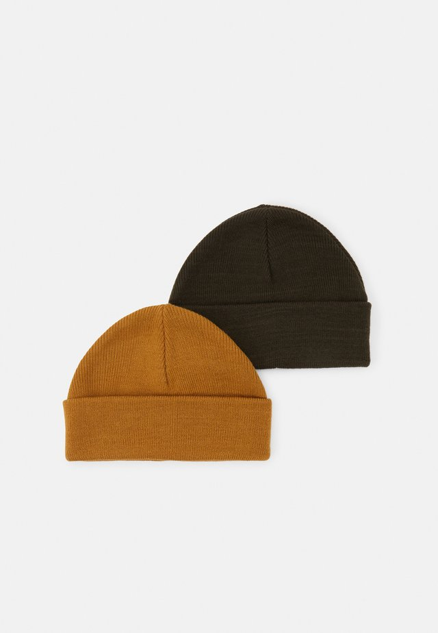 2 PACK SHORT BEANIE - Pipo - olive/camel