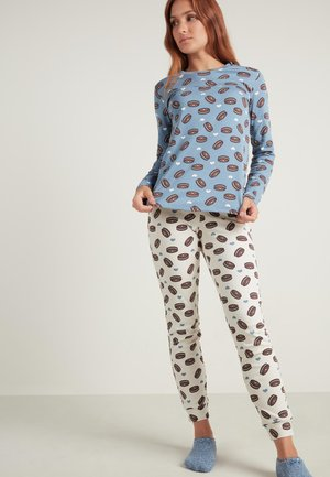 Pyjama set - sky blue biscuit print