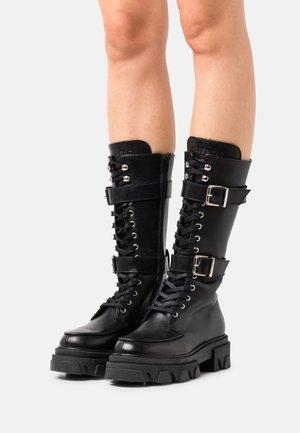 ALESSIA - Šněrovací vysoké boty - black