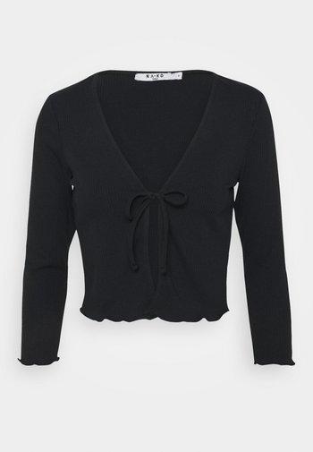 FRONT TIE CARDIGAN - Cardigan - black