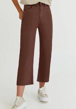 CROPPED - Straight leg jeans - mottled light brown