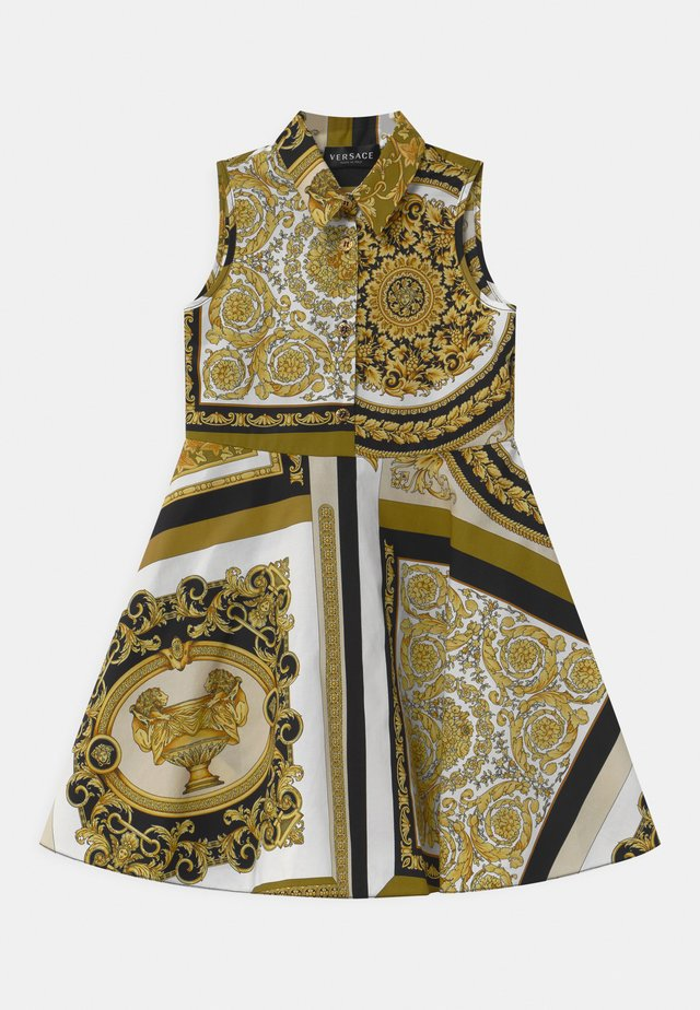 PRINT HERITAGE - Shirt dress - white/gold/kaki