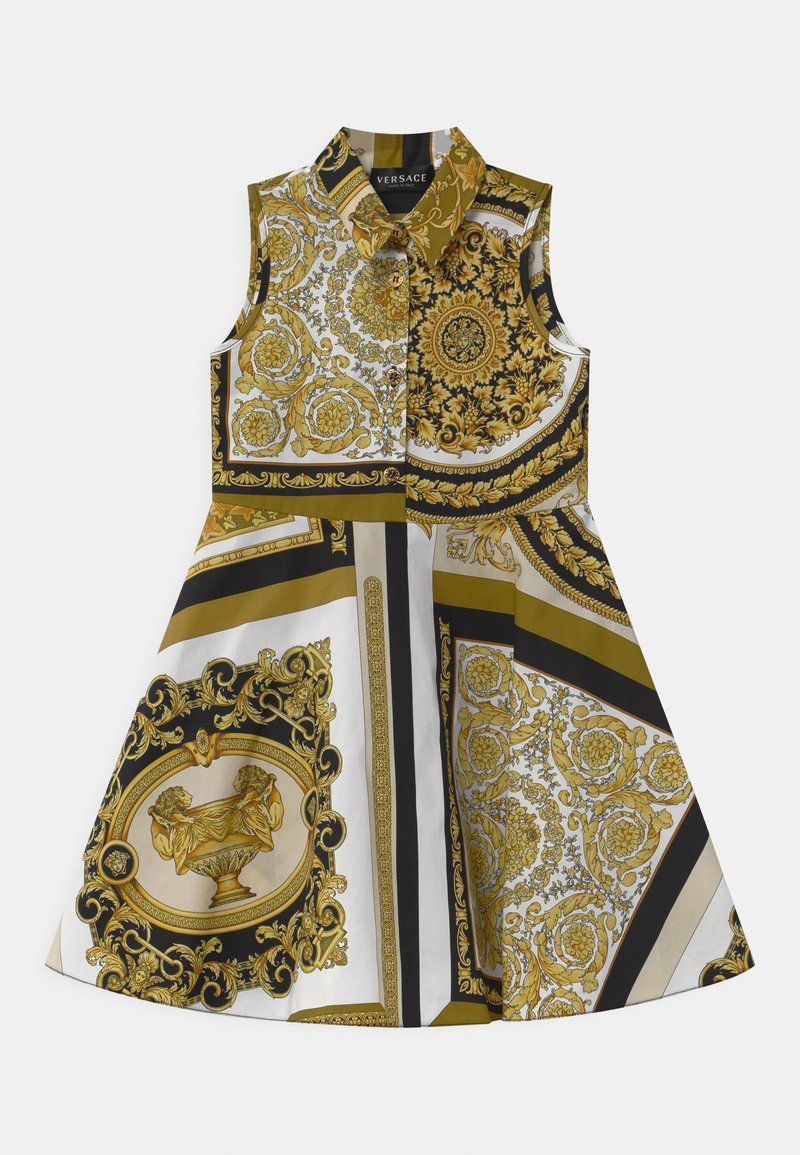 Versace - PRINT HERITAGE - Shirt dress - white/gold/kaki