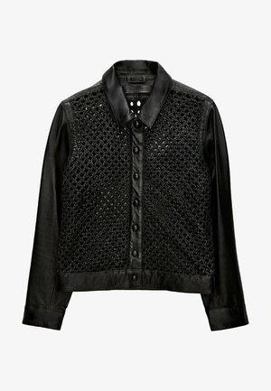MIT FLECHTMUSTER  - Leren jas - black