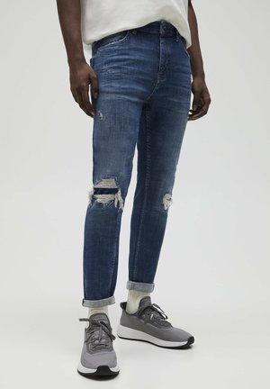 Jeans slim fit - mottled royal blue