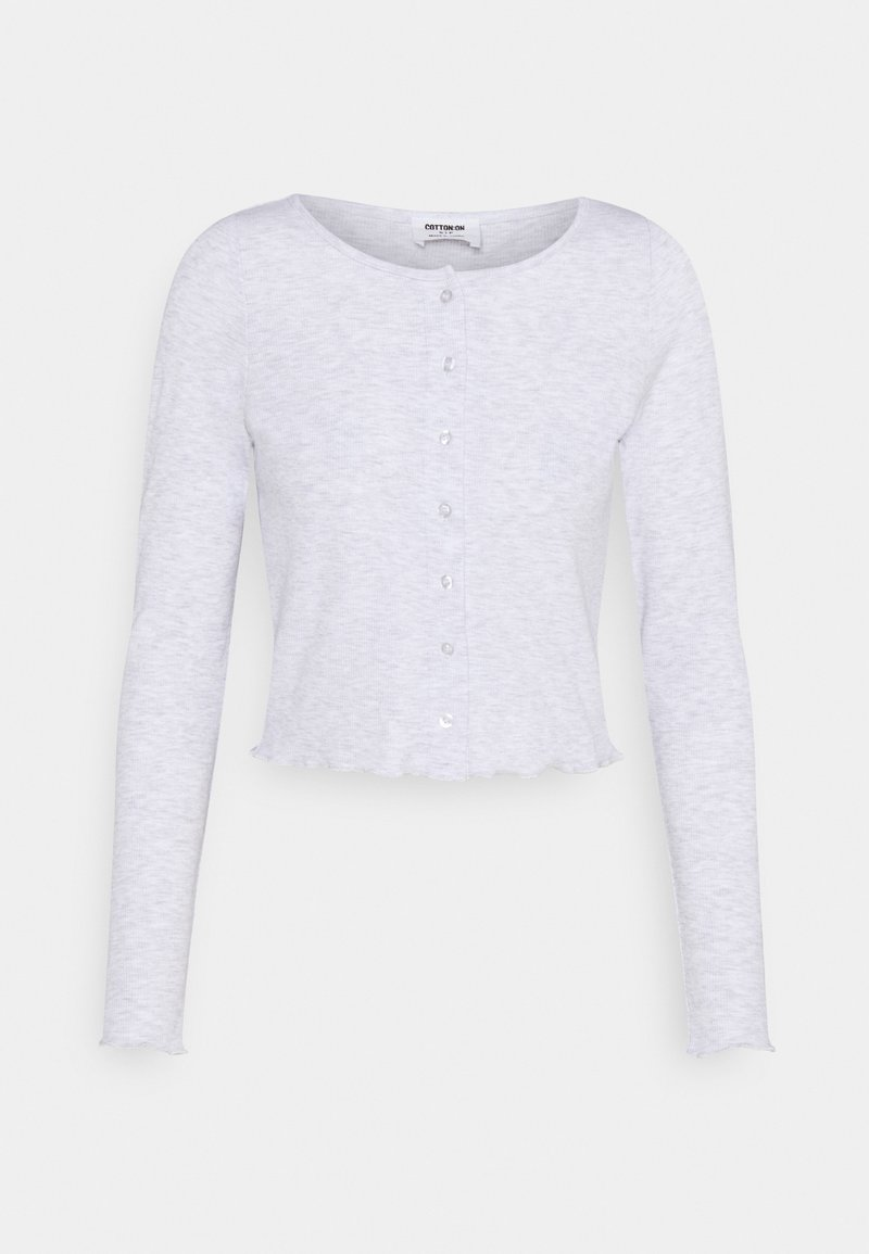 Cotton On - CORI CROP BUTTON THROUGH - Kardigan - silver marle