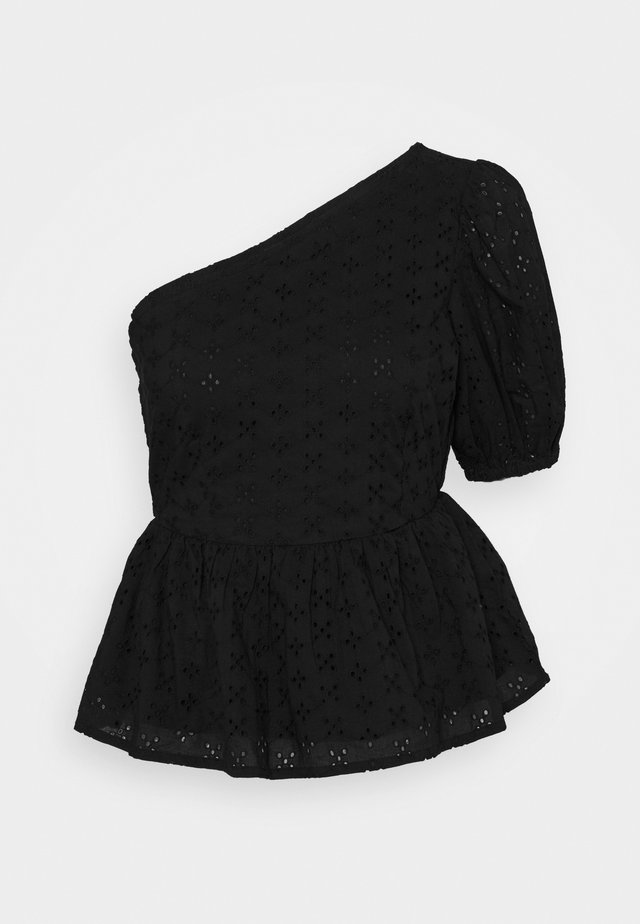 BRODERIE SHOULDER BLOUSE - Camicetta - black