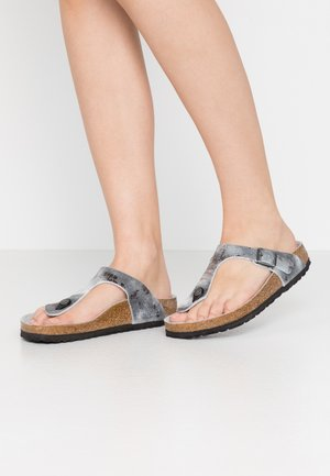 GIZEH - T-bar sandals - vintage metallic gray silver
