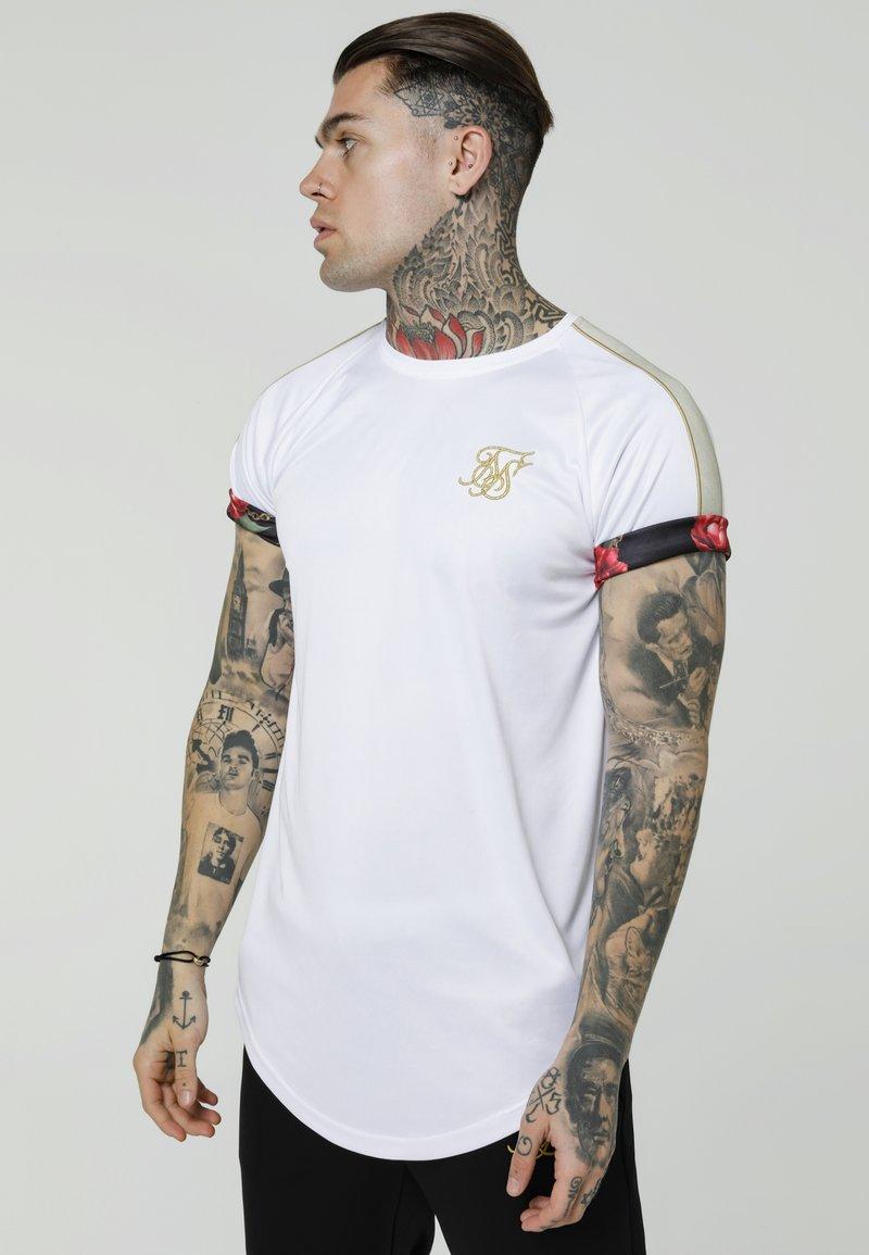 SIKSILK - MAJESTIC ROLL SLEEVE TEE - Print T-shirt - white/ecru/red