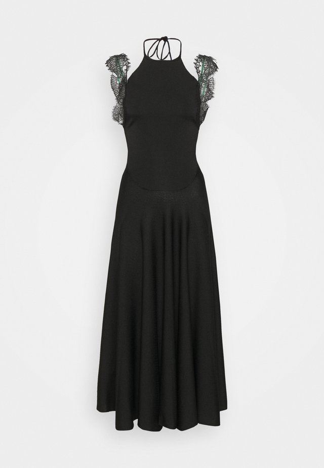COMPACT SHINE SLEEVLESS FIT AND FLARE MIDI - Maxi-jurk - black