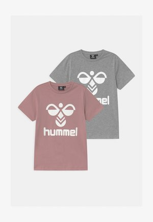 2 PACK UNISEX - T-shirts print - mauve/mottled grey