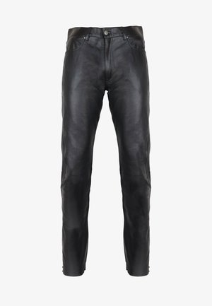 SLIM FIT - Leather trousers - schwarz