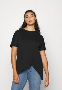 NU-IN - ASYMMETRIC LONG  - T-shirts med print - black - 0