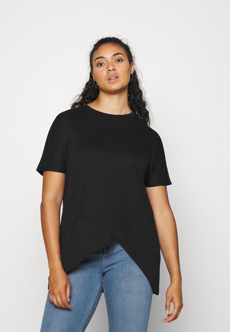 NU-IN - ASYMMETRIC LONG  - T-shirts med print - black