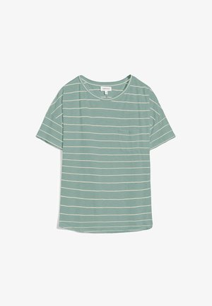 MELINAA STRIPES - Print T-shirt - matcha-oatmilk
