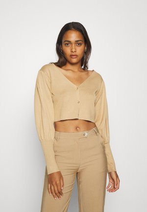 BALLOON SLEEVE CROPPED CARDIGAN - Cardigan - tan