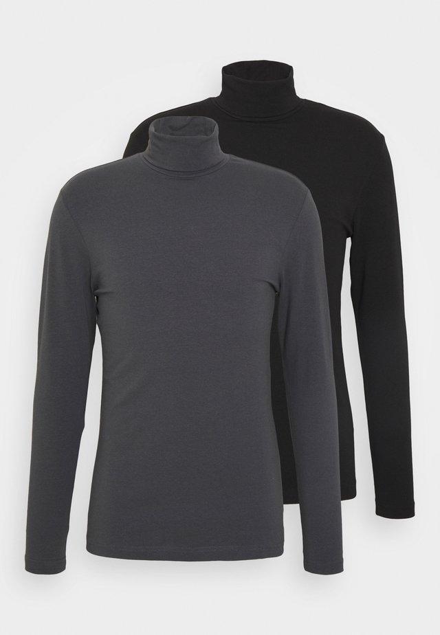 2 PACK - Long sleeved top - grey/black