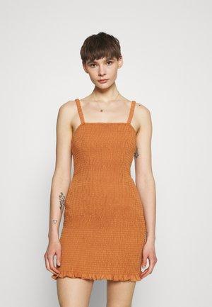 MAYA SMOCKED MINI DRESS WITH RUCHED STRAPS STRAIGHT NEKLINE - Shift dress - rust