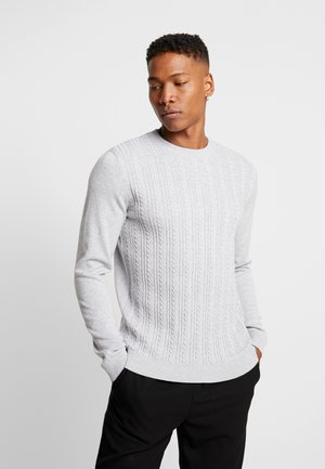JPRFAST CABLE CREW NECK  - Stickad tröja - cool grey melange