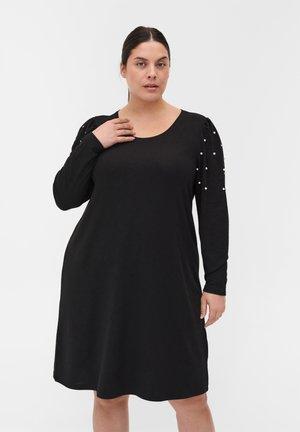 langen Puffärmeln und Perlen - Jumper dress - black