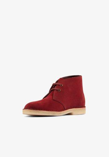 Ankle boots - rotes veloursleder