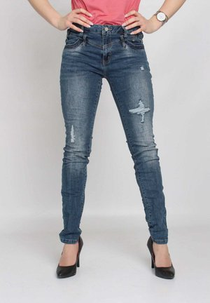 Slim fit jeans - blue destroyed denim