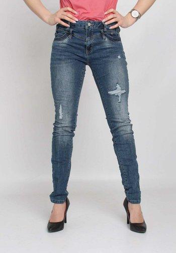 Slim fit jeans - blue destroyed denim