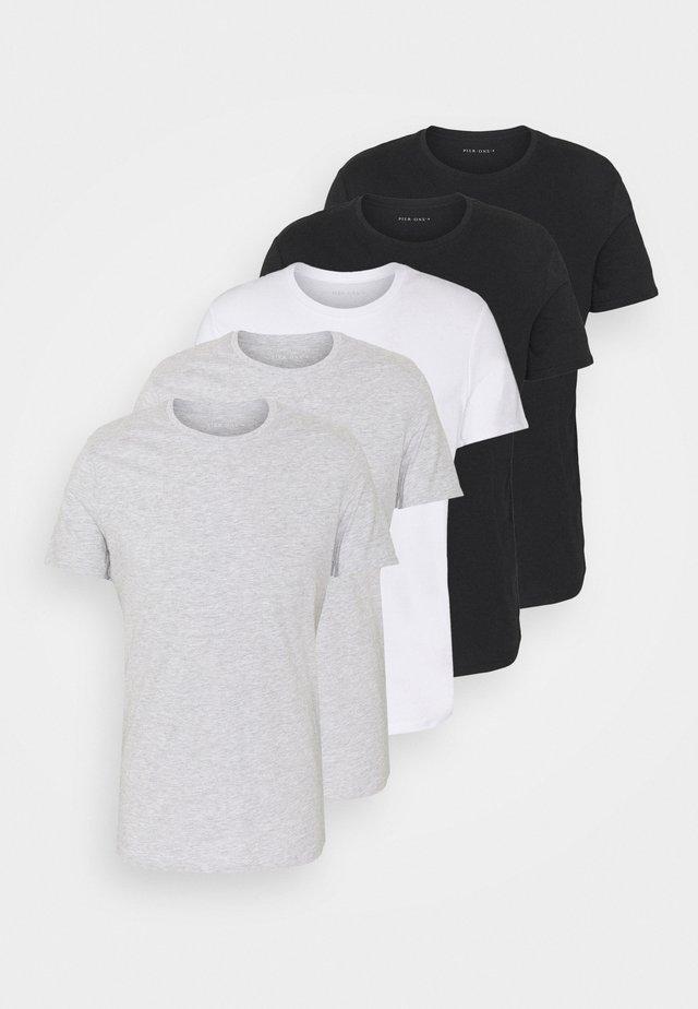 5 PACK - T-shirts basic - black/white