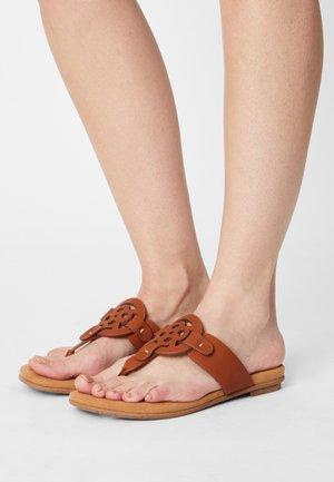 JASMIN - T-bar sandals - cognac