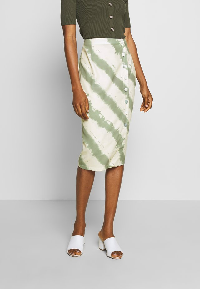KIRA SKIRT - Pencil skirt - beige/green