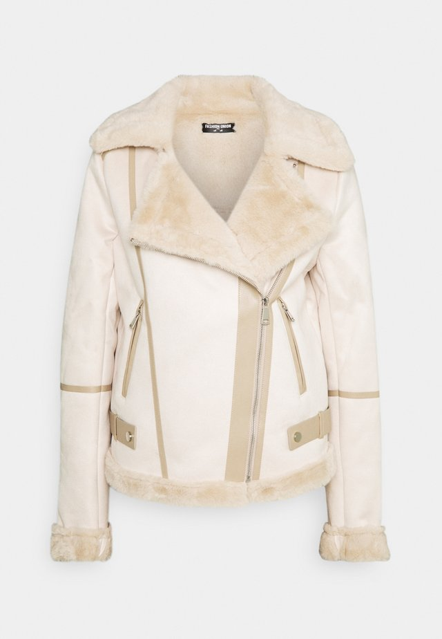 FAUX FUR TRIM AVIATOR - Winter jacket - cream