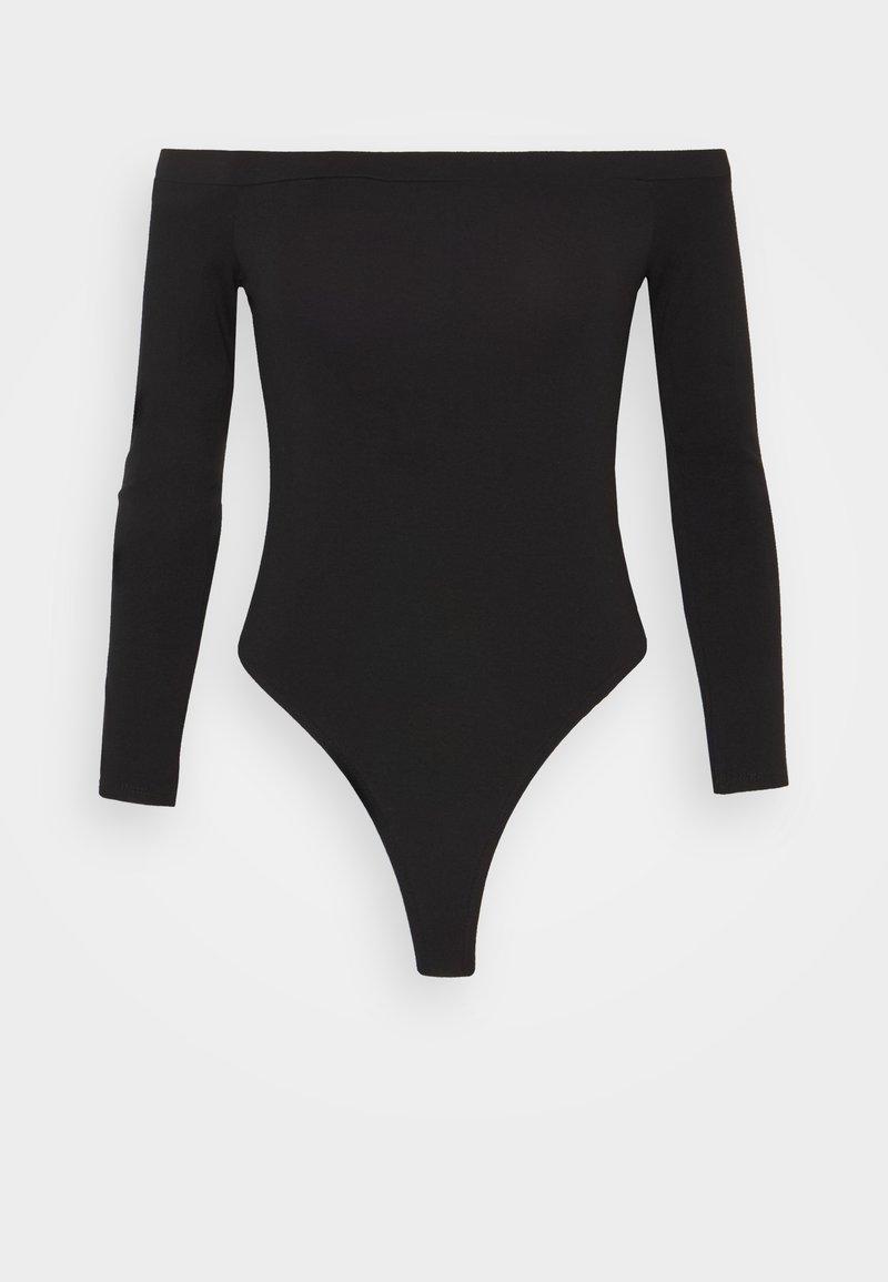 Missguided Petite - LONG SLEEVED BARDOT BODYSUIT - Long sleeved top - black